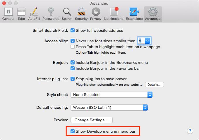OS X Yosemite (Safari, Preferences, Advanced, Develop menu)