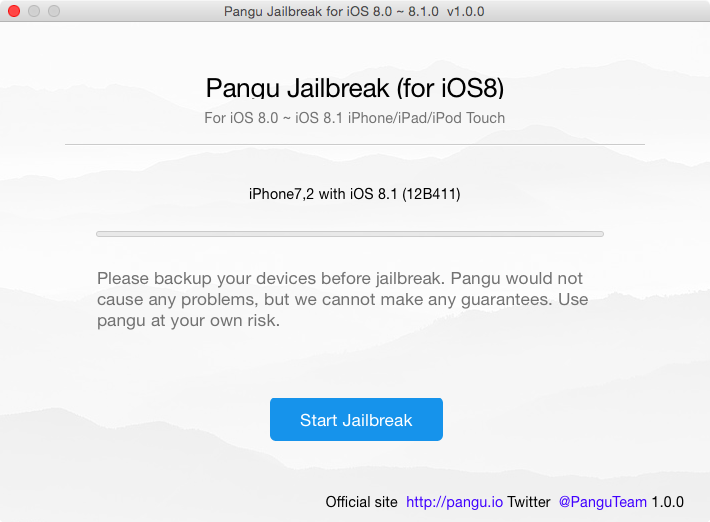 Pangu 8 for Mac Start Jailbreak