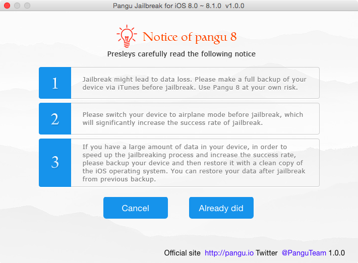 Pangu 8 jailbreak warnings