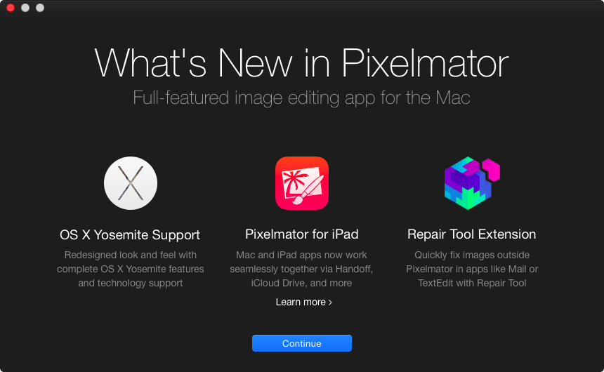 Pixelmator 3.3 for OS X (splash screen)
