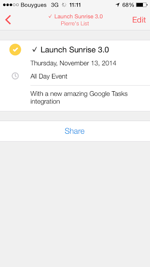 Sunrise for iOS (Google Tasks screenshot)