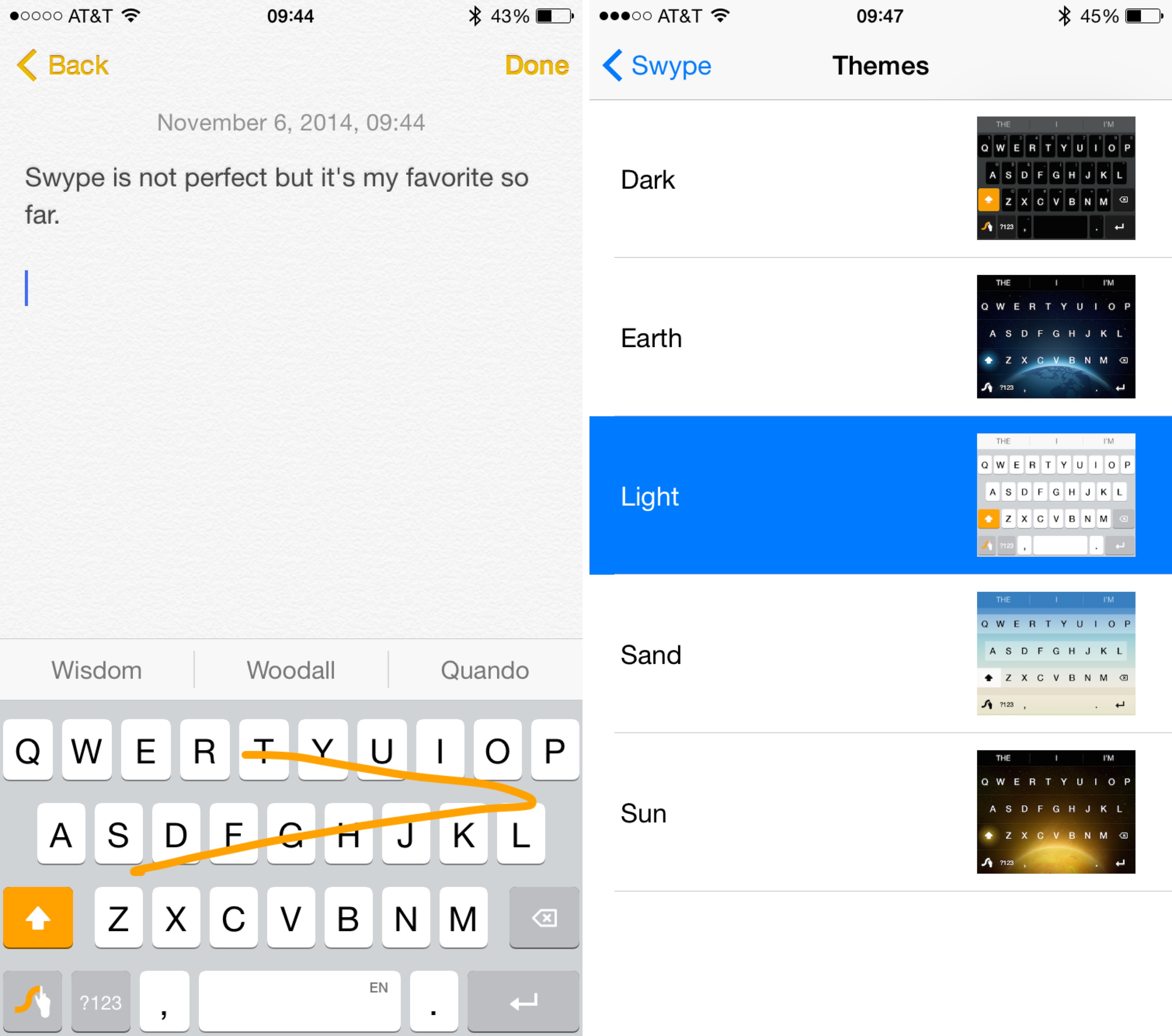 Swype keyboard themes