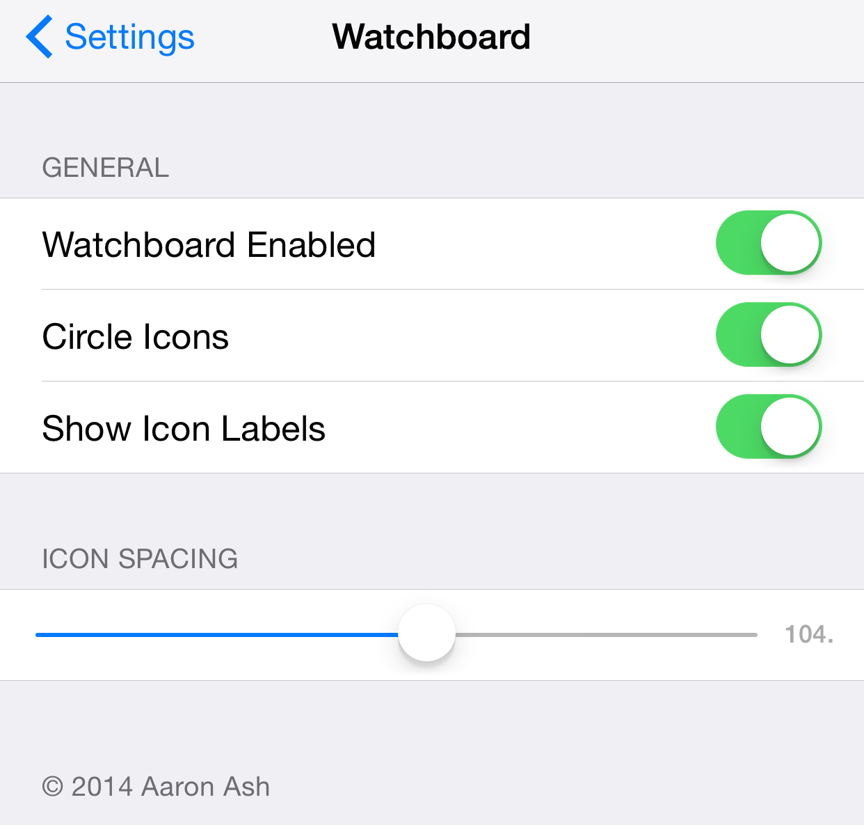 WatchBoard settings