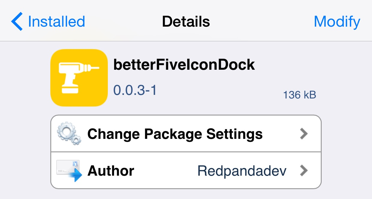 betterFiveIconDock Cydia