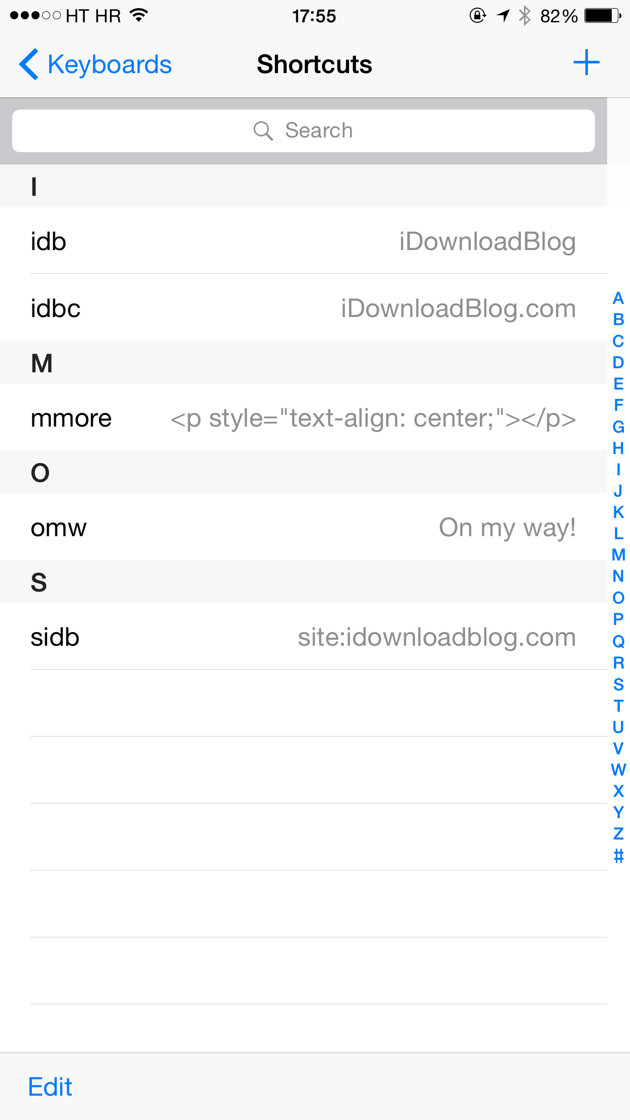 iOS 8 (Keyboard shortcusts 001)
