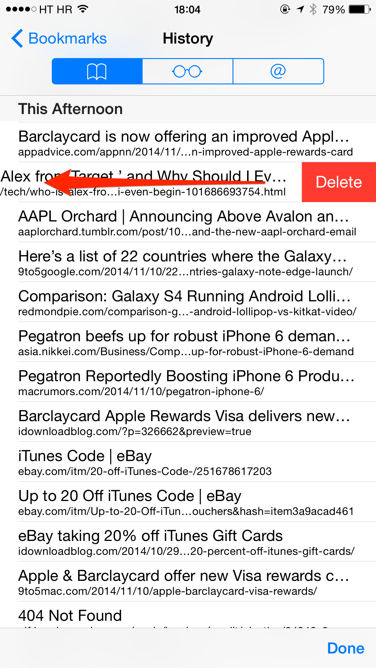 iOS 8 (how to delete invidiual pages from Safari history 002)