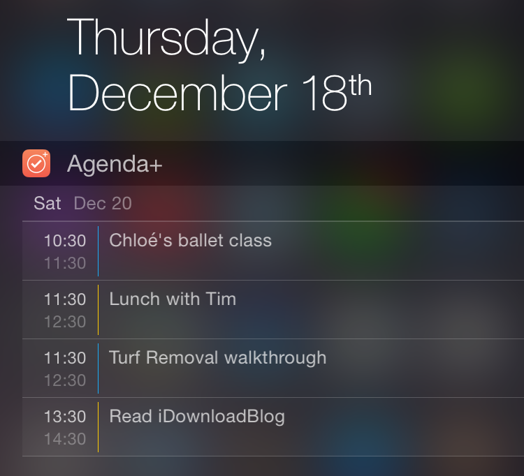Agenda+ Notification Center extension