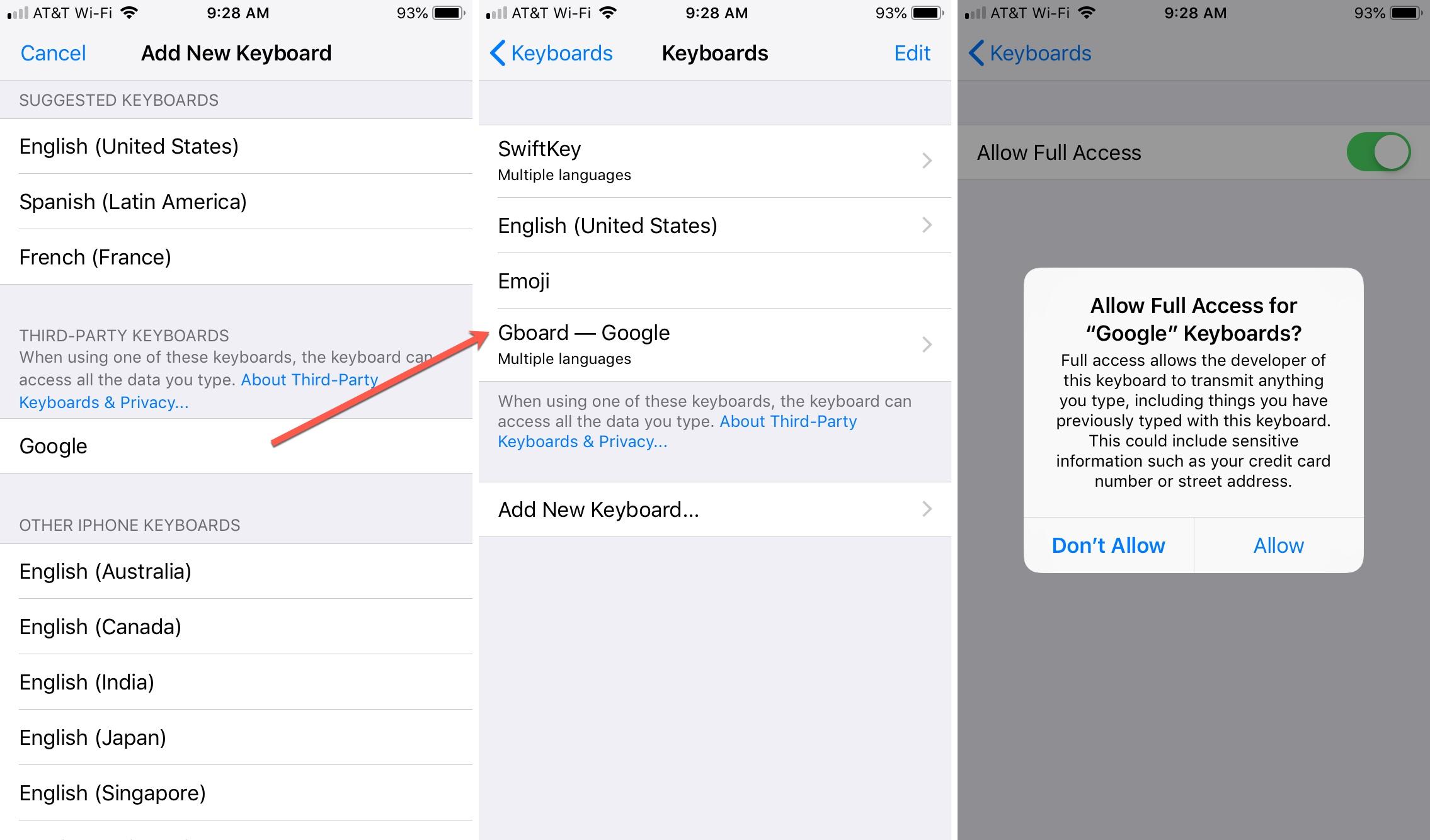 Permitir acceso al nuevo teclado en iPhone