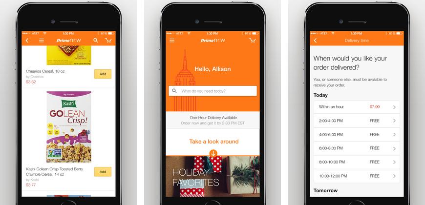 L'application Prime Now d'Amazon avec livraison en une heure est sortie pour iPhone