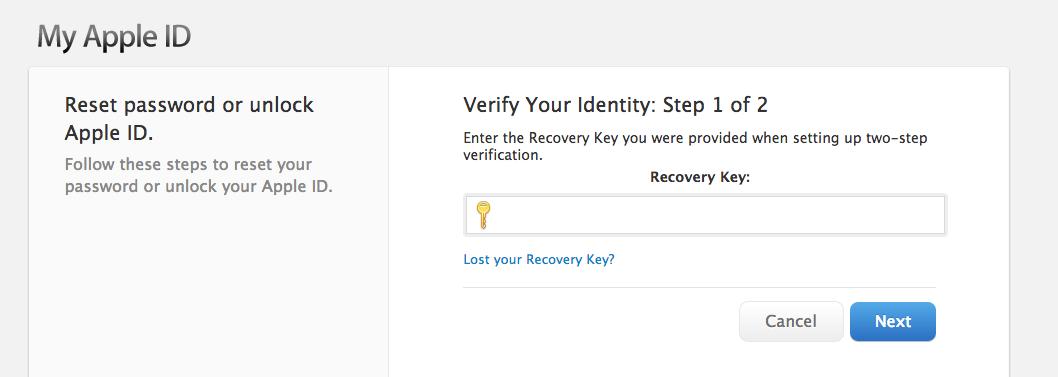 Apple ID (unlock, Recovery Key)