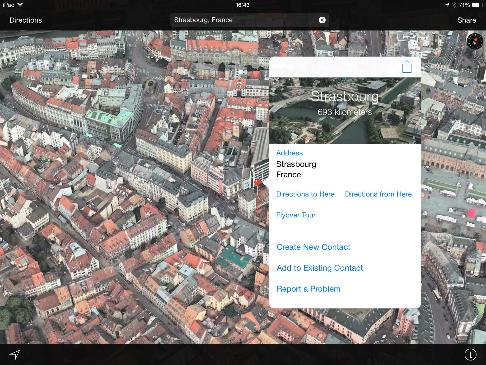 Apple Maps Flyover Strasbourg in France
