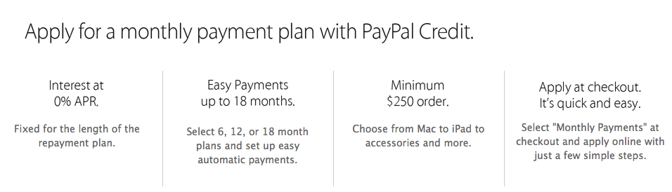 Apple Store PayPal Credit