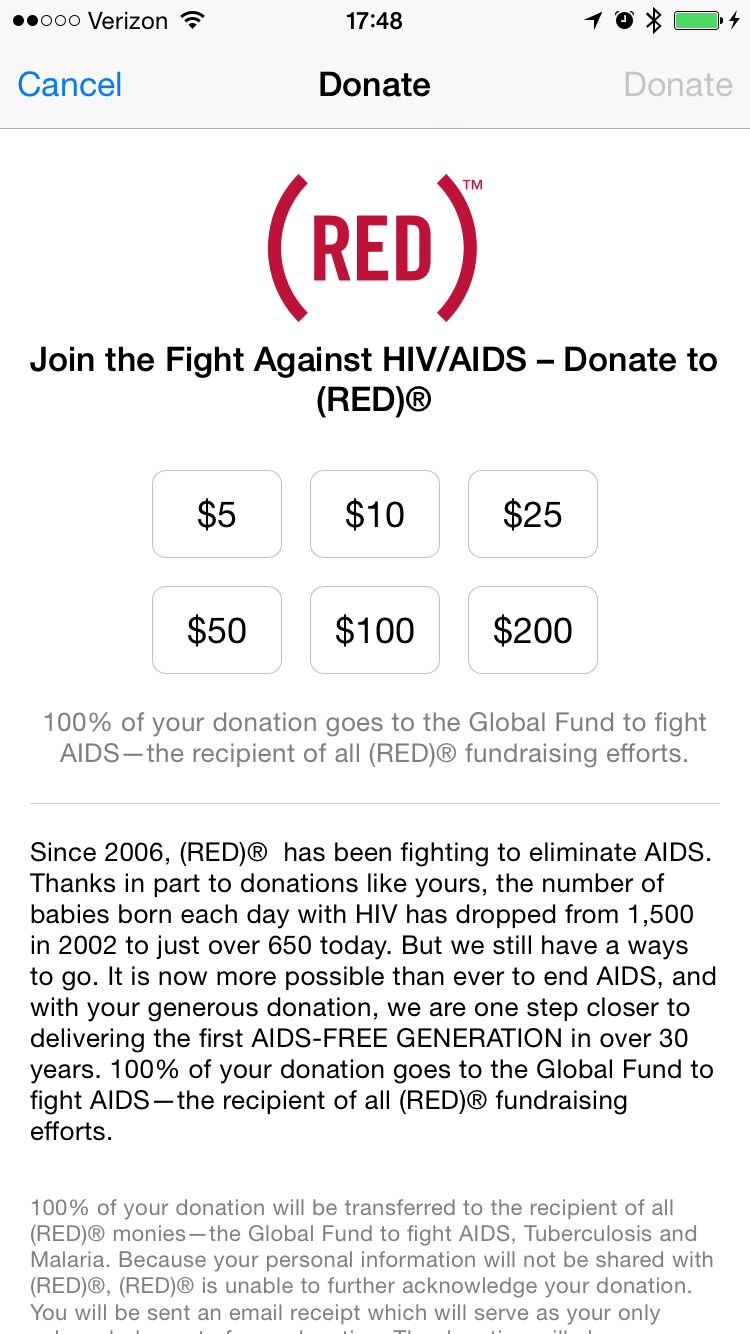 Apple World AIDS Day 2013 (App Store donation page)