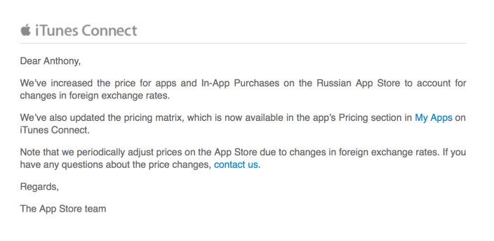 Apple email App Store prices increase in Russia