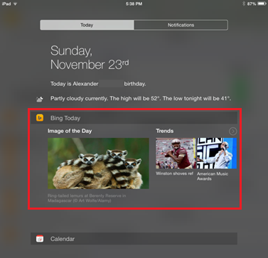 Bing 2.3 for iOS iPad screenshot Today widget