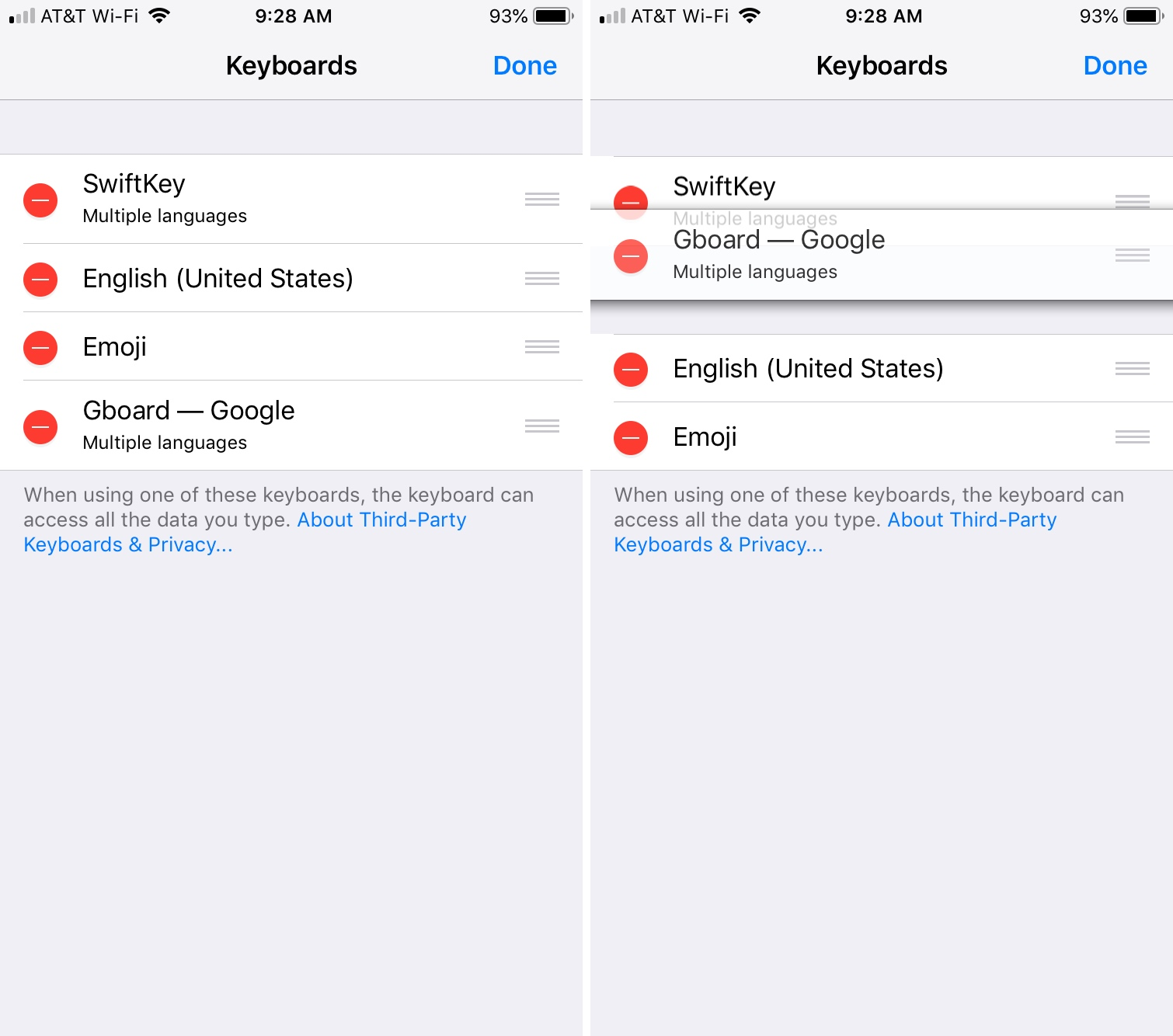 Change Order of Keyboards on iPhone