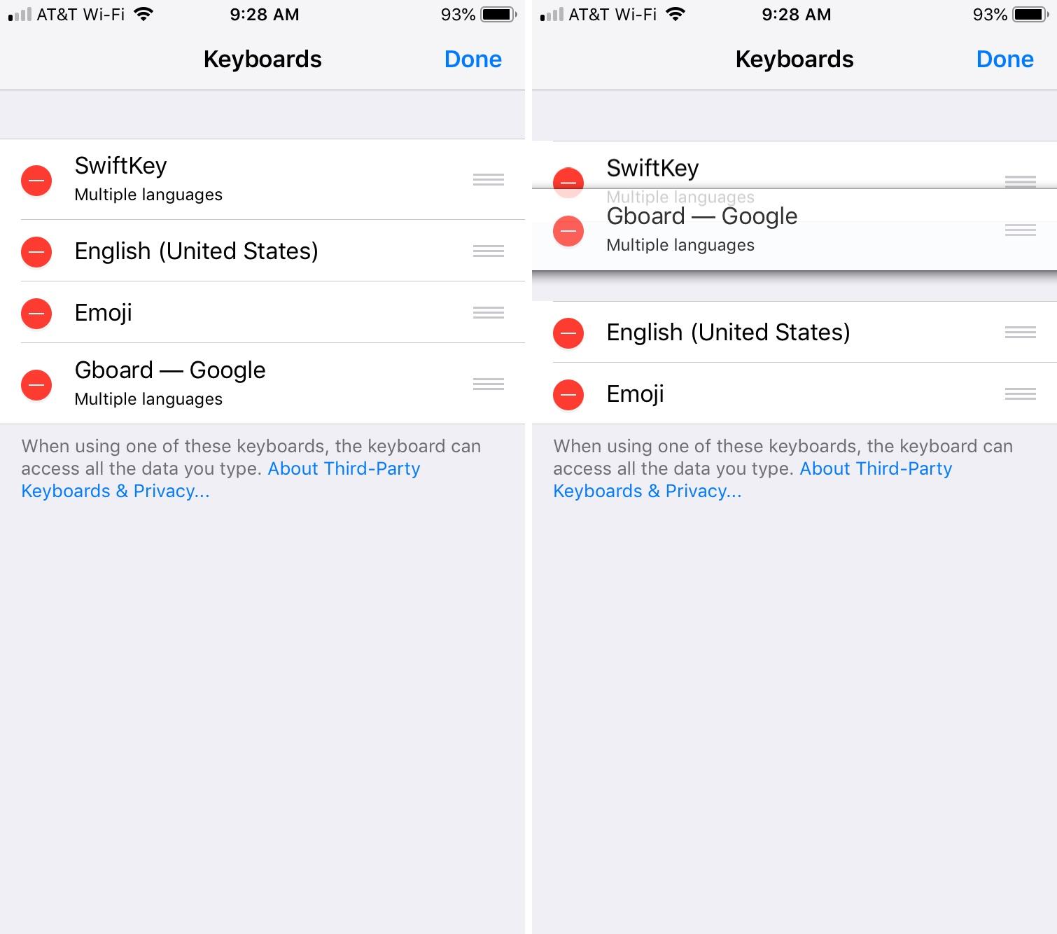 Cambiar orden de teclados en iPhone