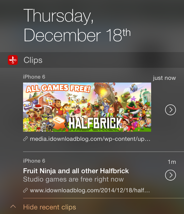 Clips notification center extension