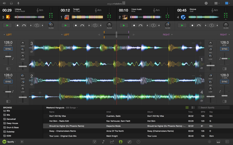 Djay Pro for Mac Four Deck Horizontal