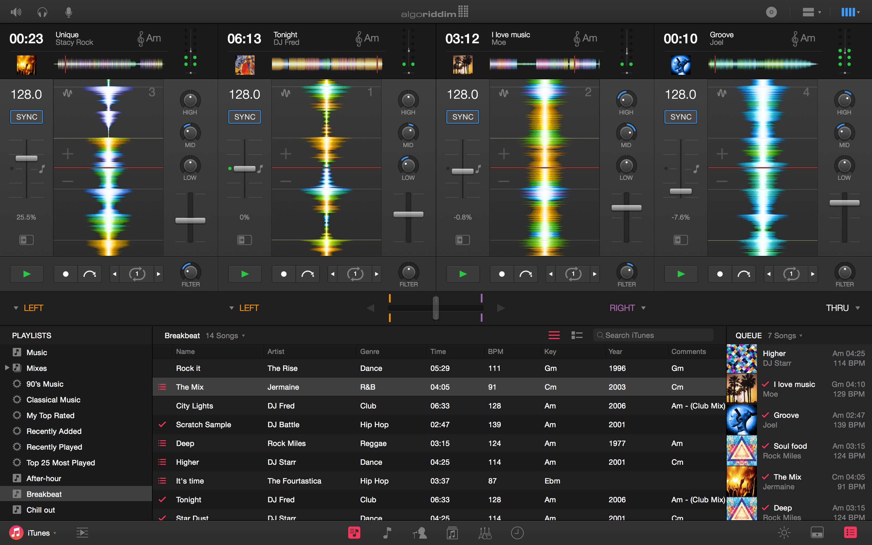 Djay Pro for Mac Four Deck Vertical