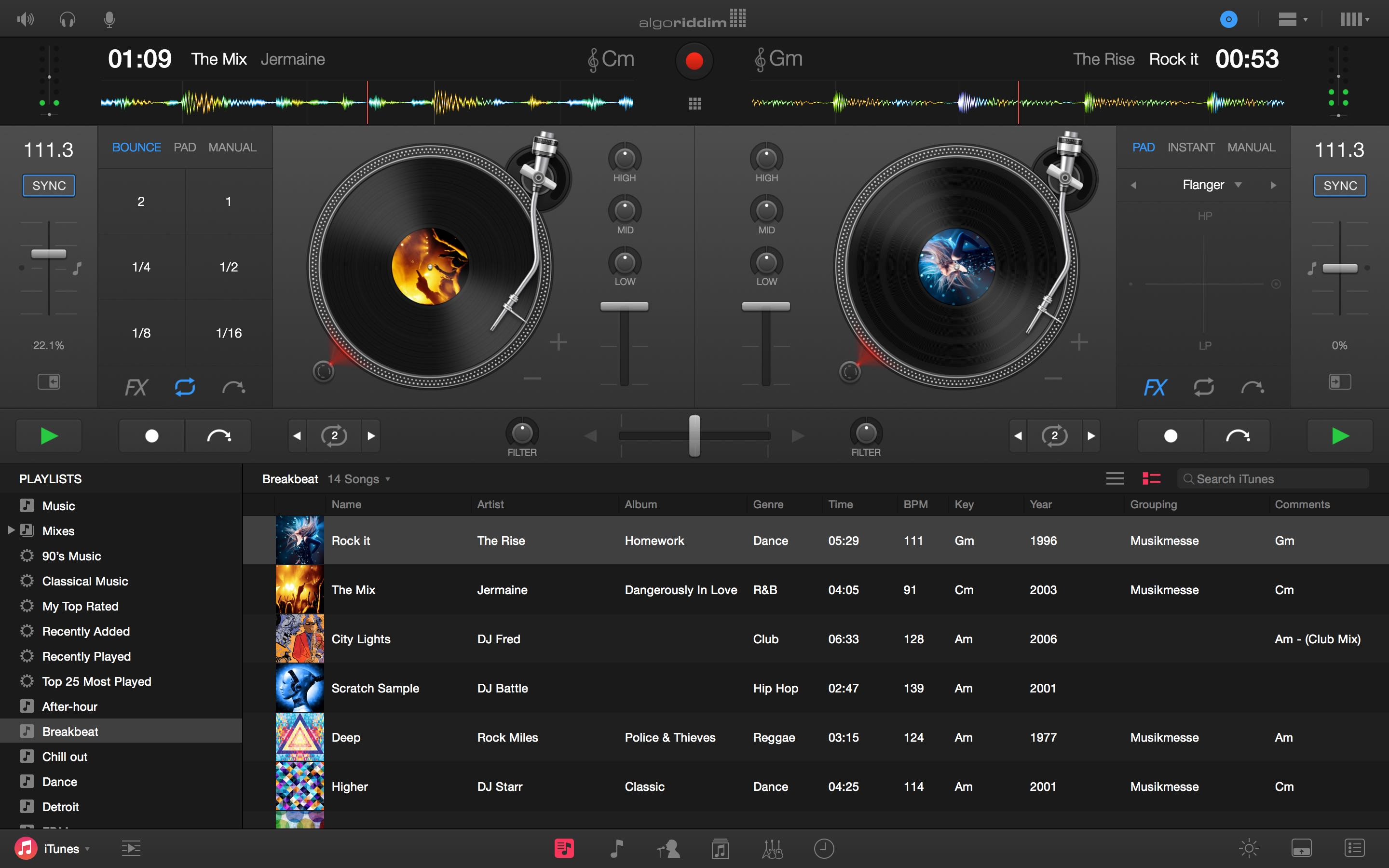 Djay Pro for Mac Turntables
