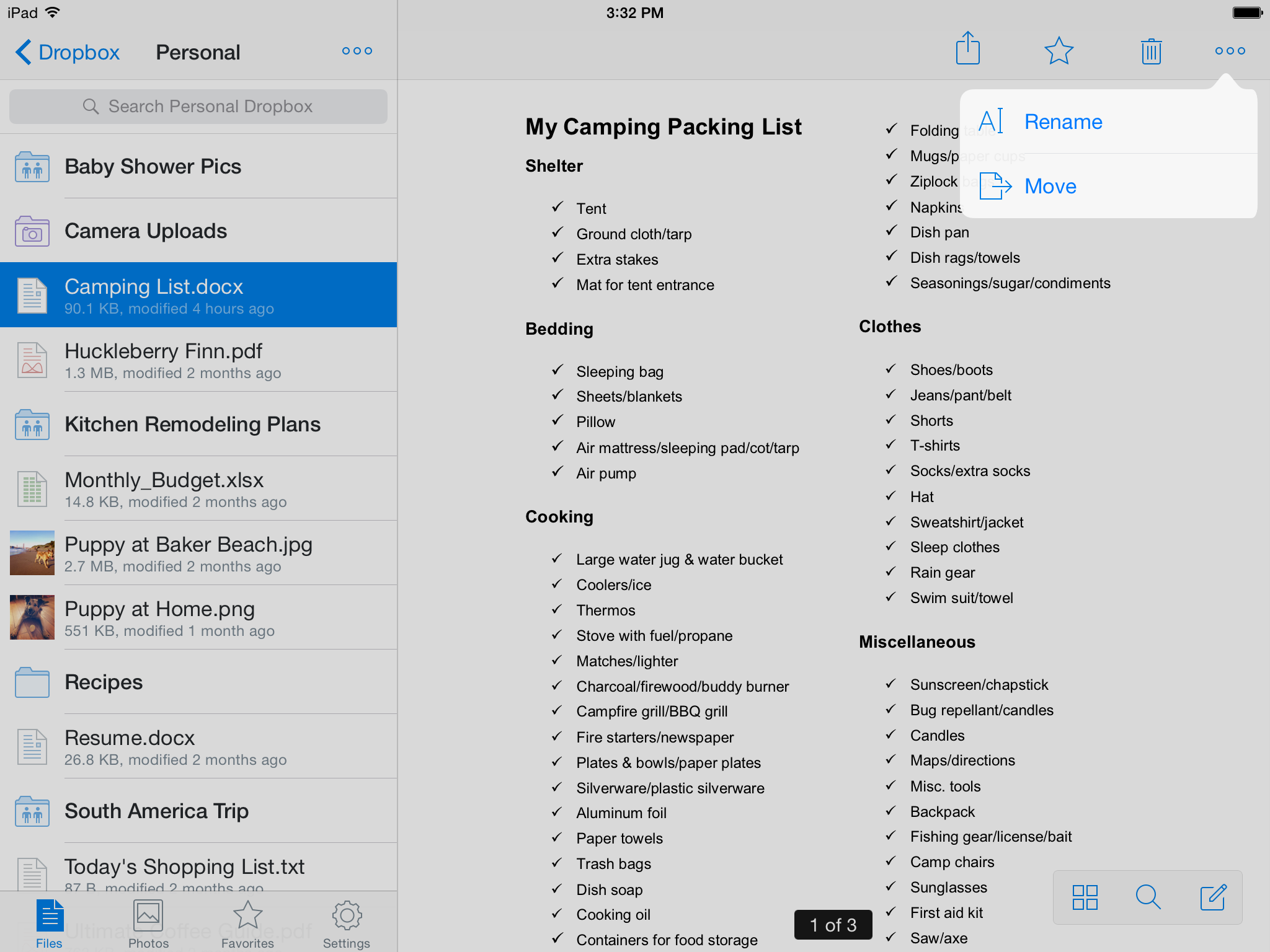 Dropbox 3.6 for iOS (Toolbar and More Actions, iPad screenshot 001)