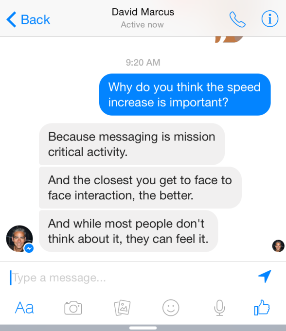 Facebook Messenger speed boost chat