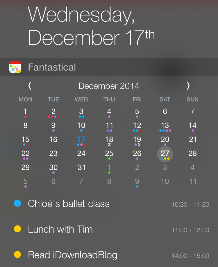 Fantastical notification center extension