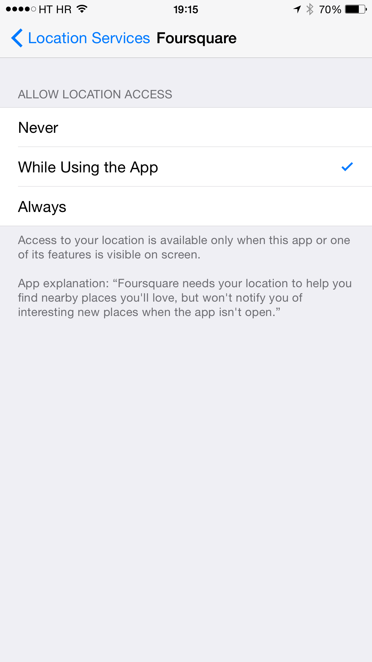 Foursquare 8.5 for iOS (Location Services, iPhone screenshot 001)