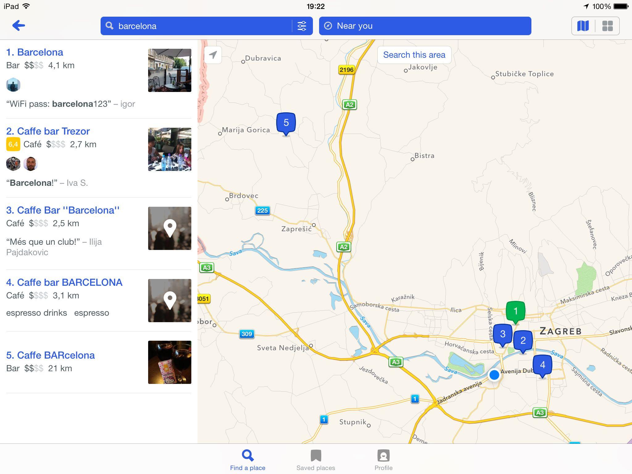 Foursquare 8.5 for iOS (iPad screenshot 001)
