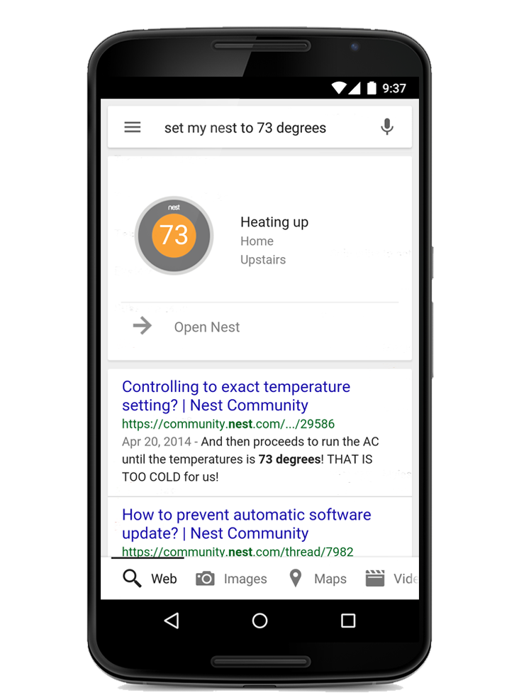 Google 5.0 for Android (Nest integration)
