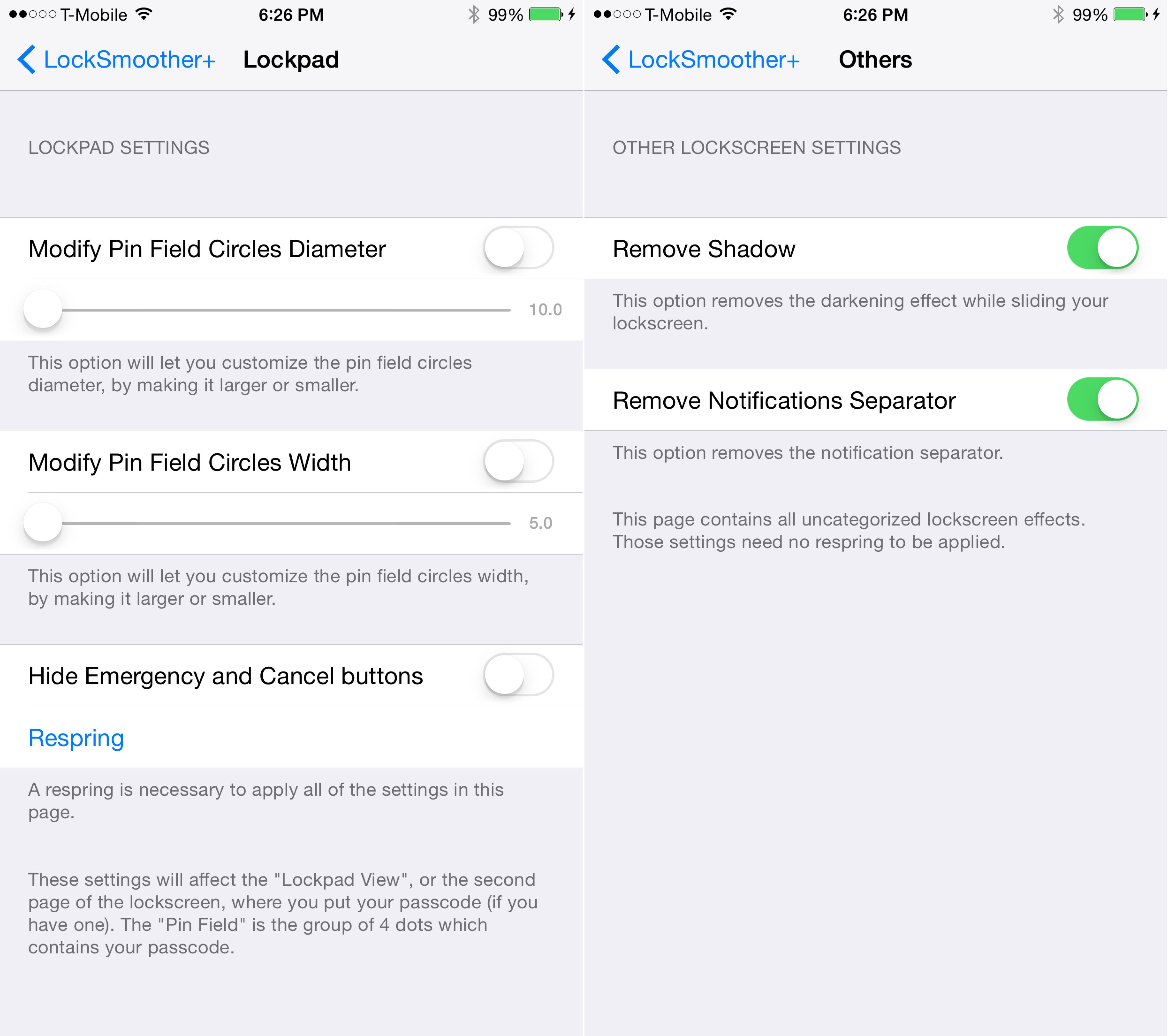 LockSmoother+ preferences 2