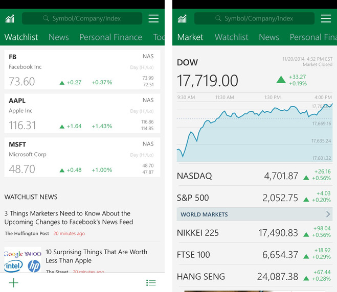 MSN Money 1.0 for iOS iPhone screenshot 001