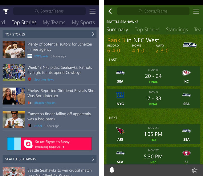 MSN Sports 1.0 for iOS iPhone screenshot 002