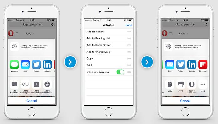 Opera Mini 9.1 for iOS (Share exntesion iPhone screenshot 001)