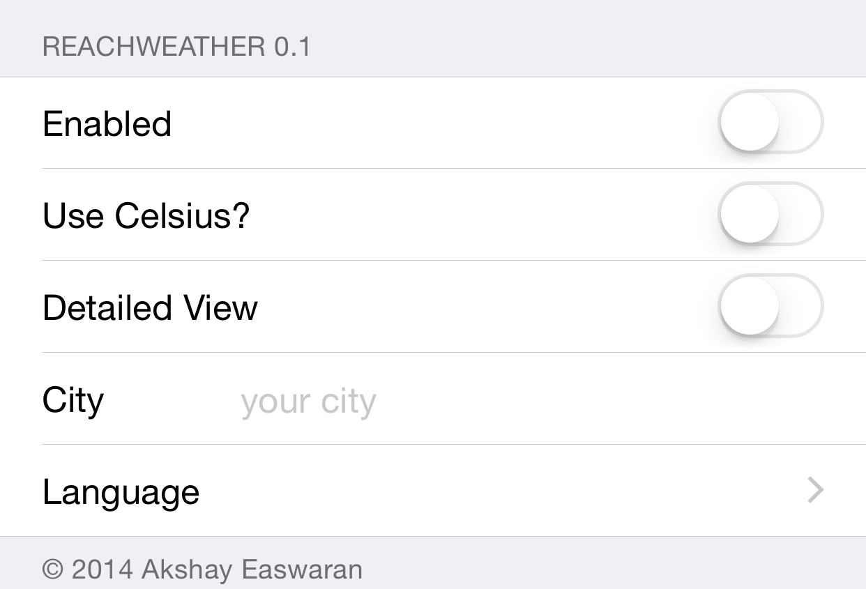 Reach Weather Preferences