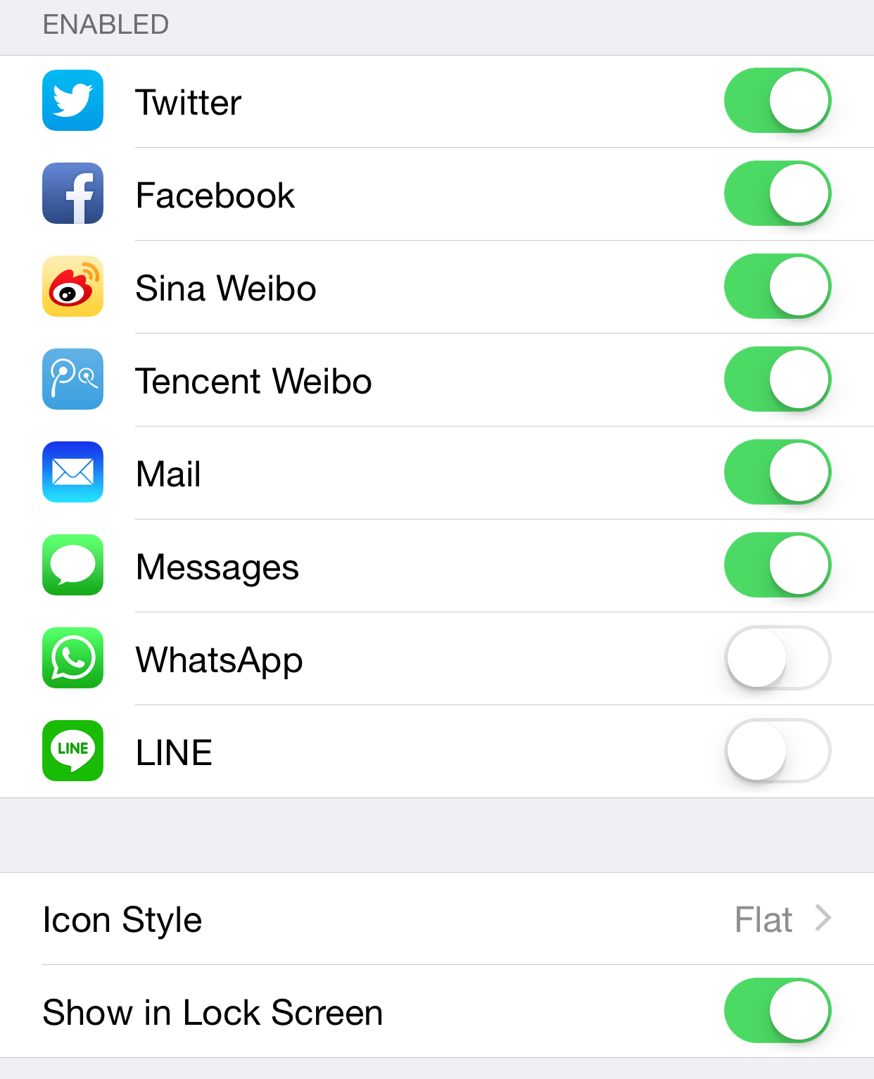 Share Widget iOS 8 Preferences