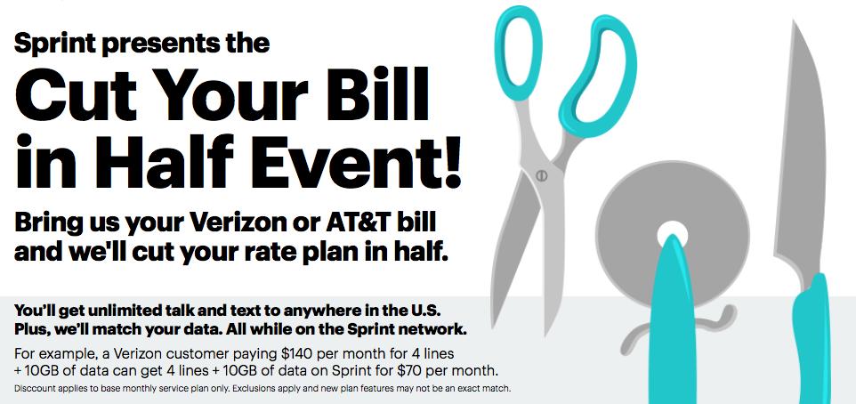 Sprint cut bill in half