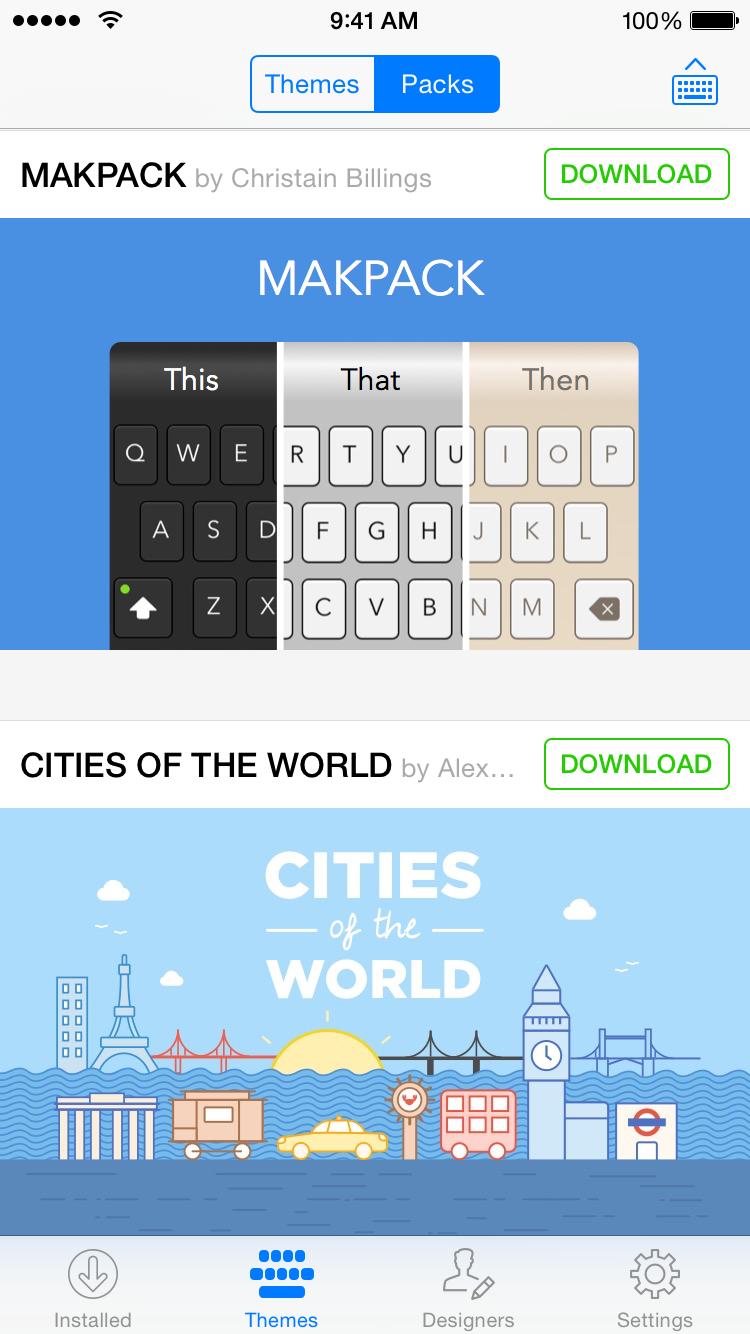 Themeboard 1.0 para iOS (captura de pantalla 001 de iPhone)