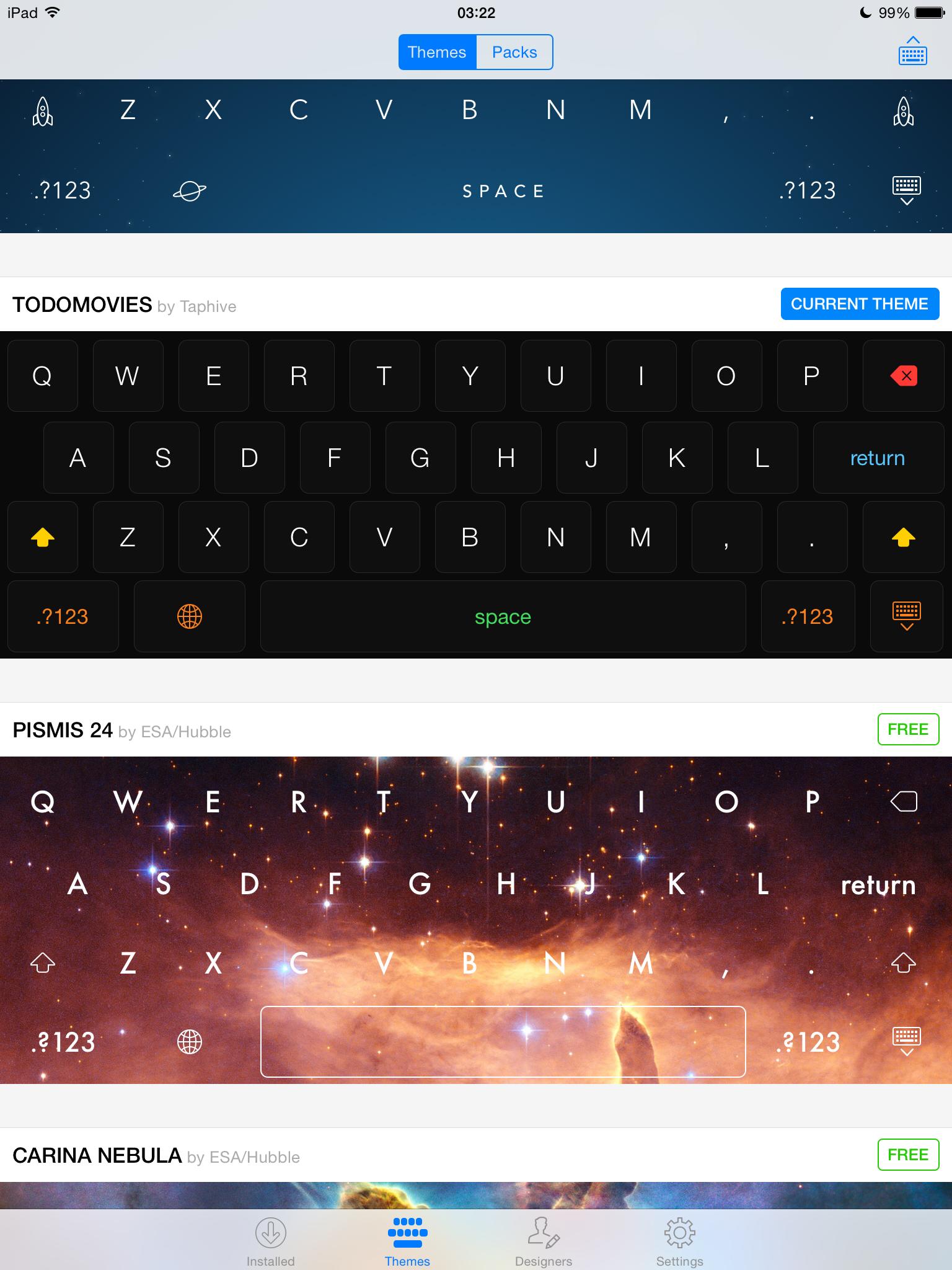 Themeboard 1.0 para iOS (muestra de teclado 001)