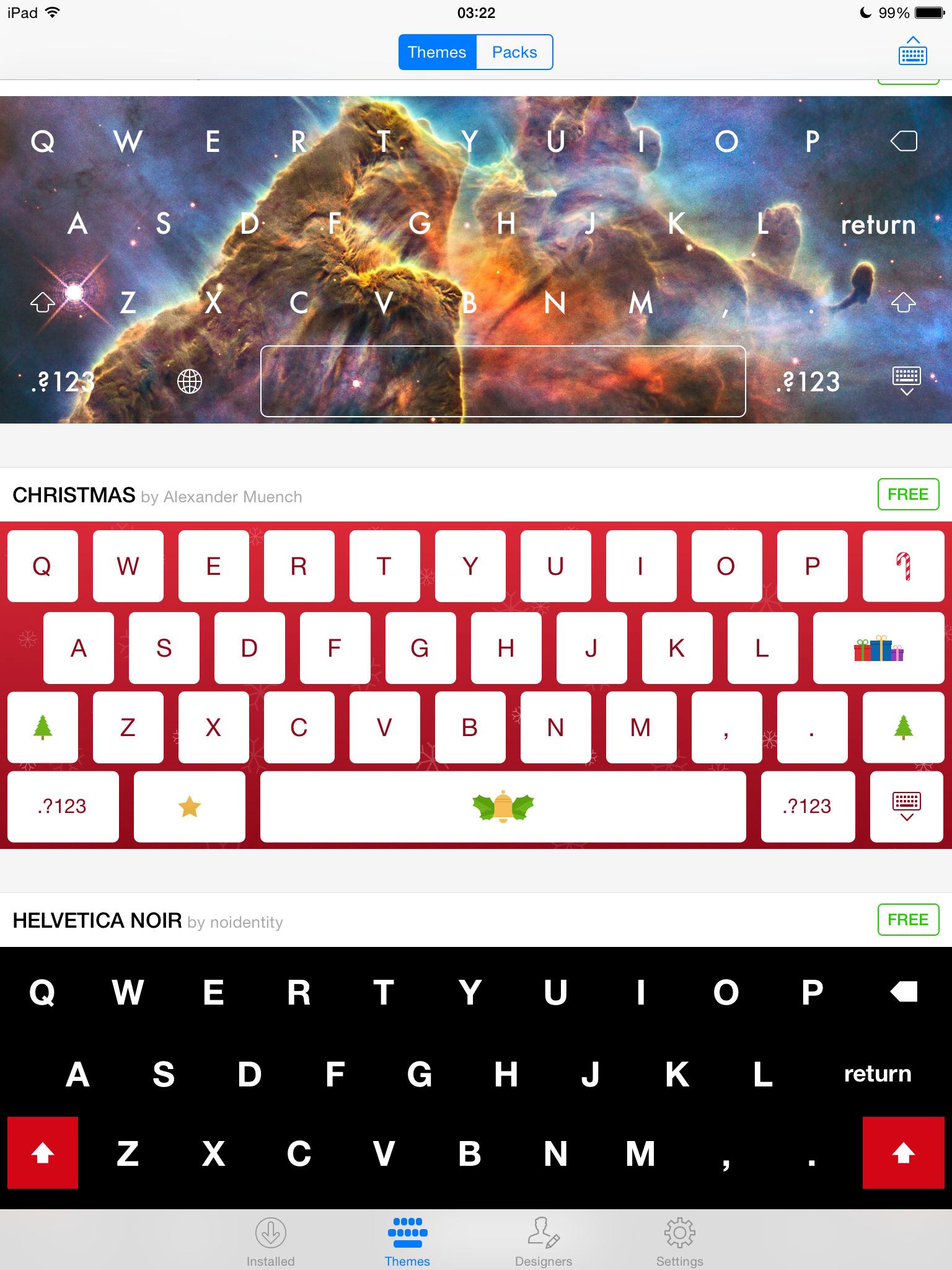Themeboard 1.0 para iOS (muestra de teclado 002)