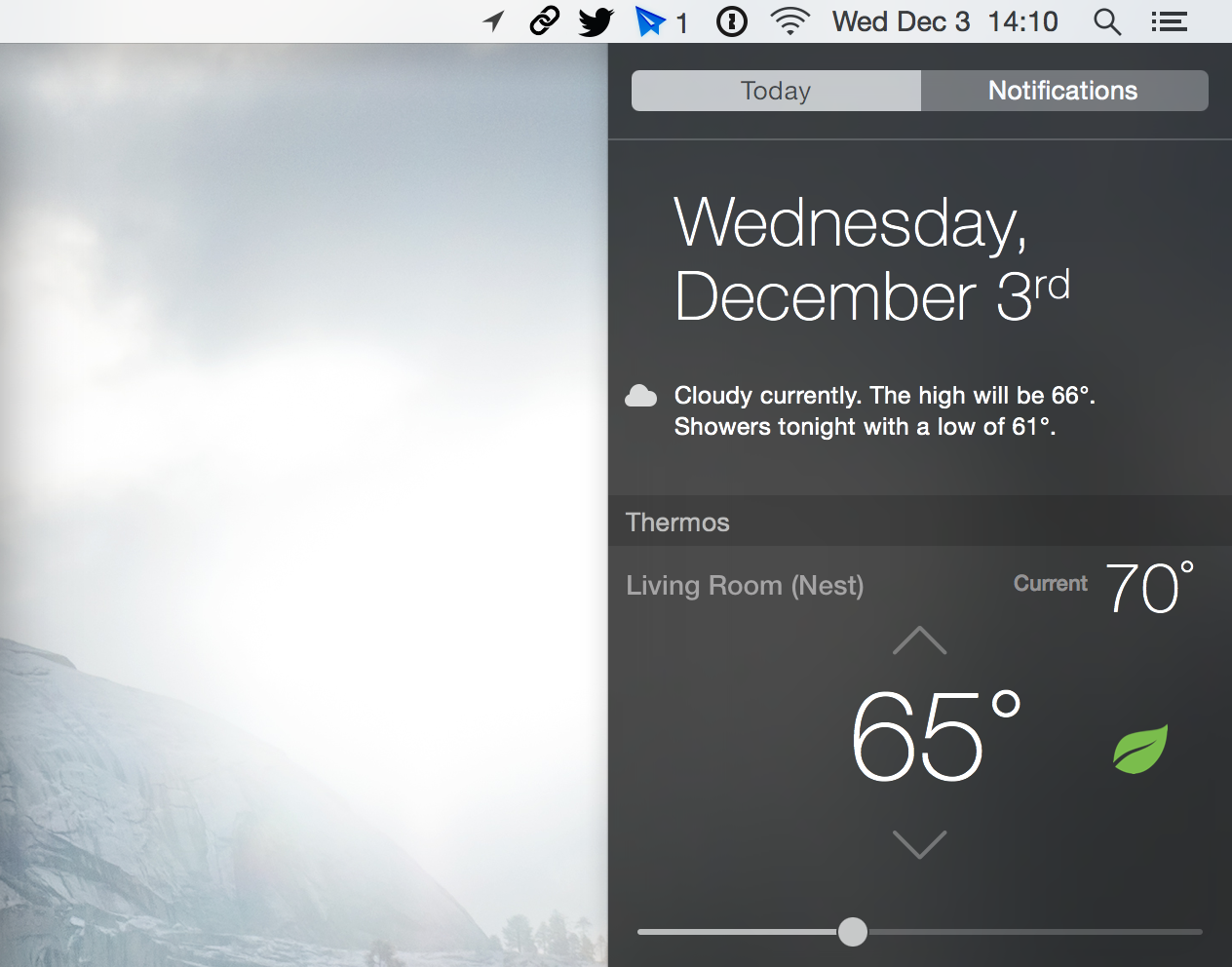 Thermos Notification Center Nest widget