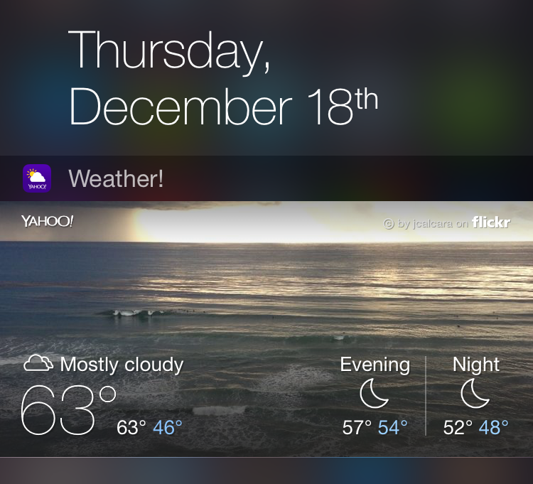 Yahoo Weather Notification Center extension