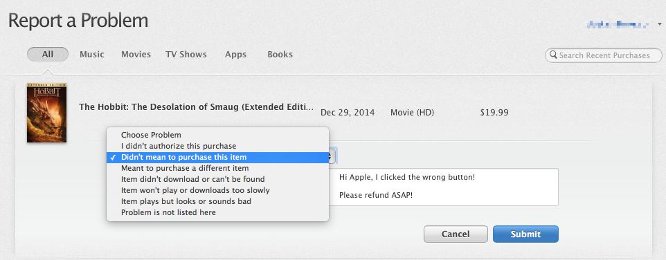 Captura de pantalla web de iTunes Report Problem