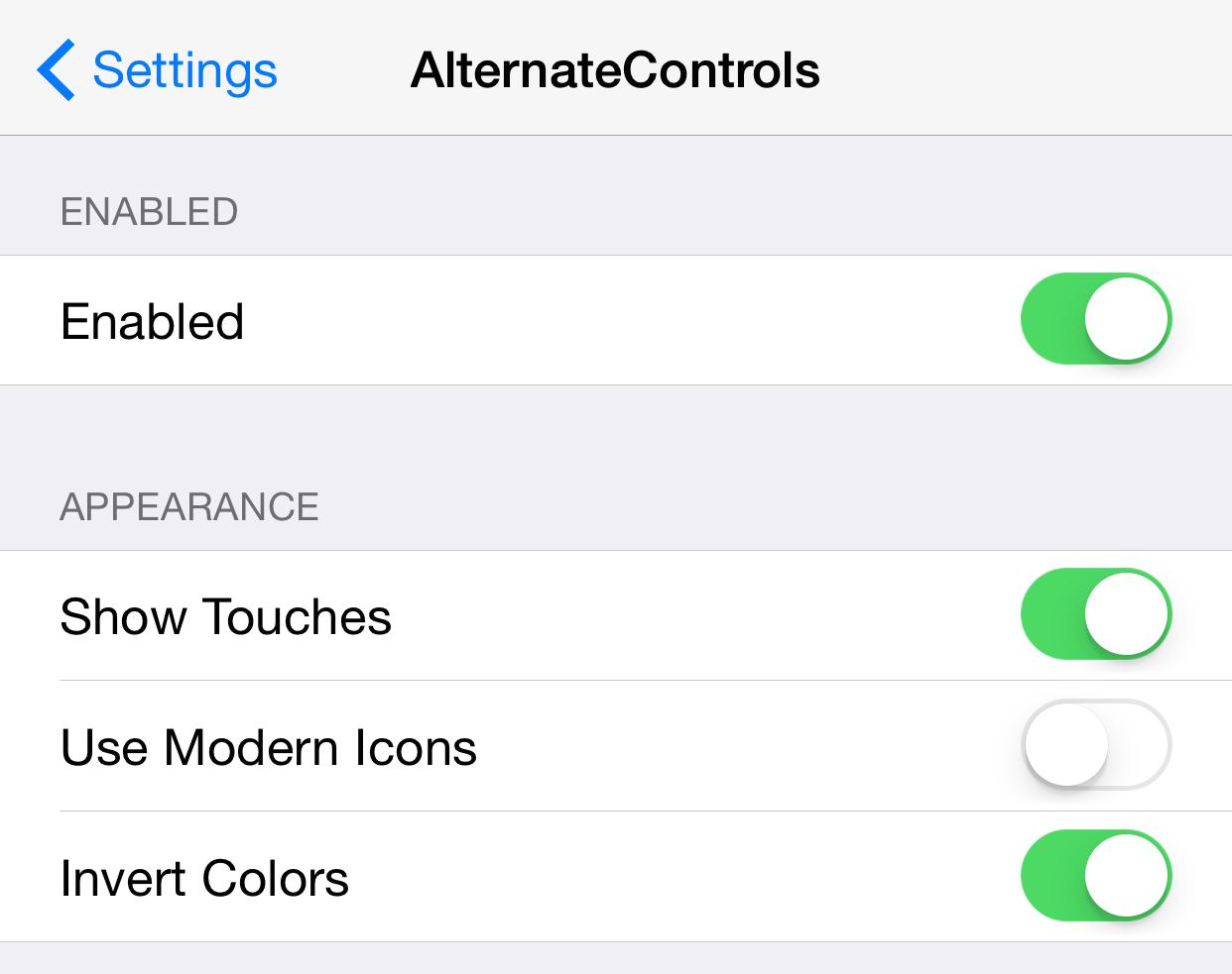 AlternateControls Settings