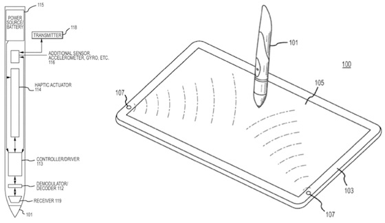 Apple patent haptic stylus
