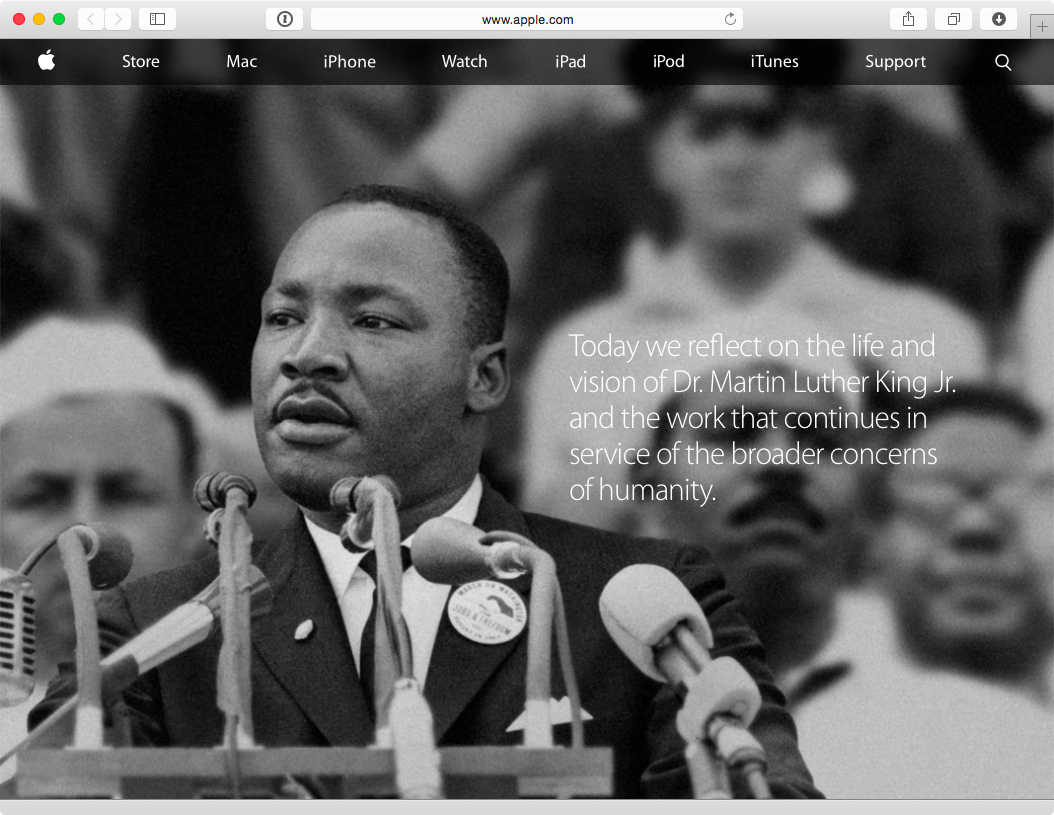 Apple.com Martin Luther King Day