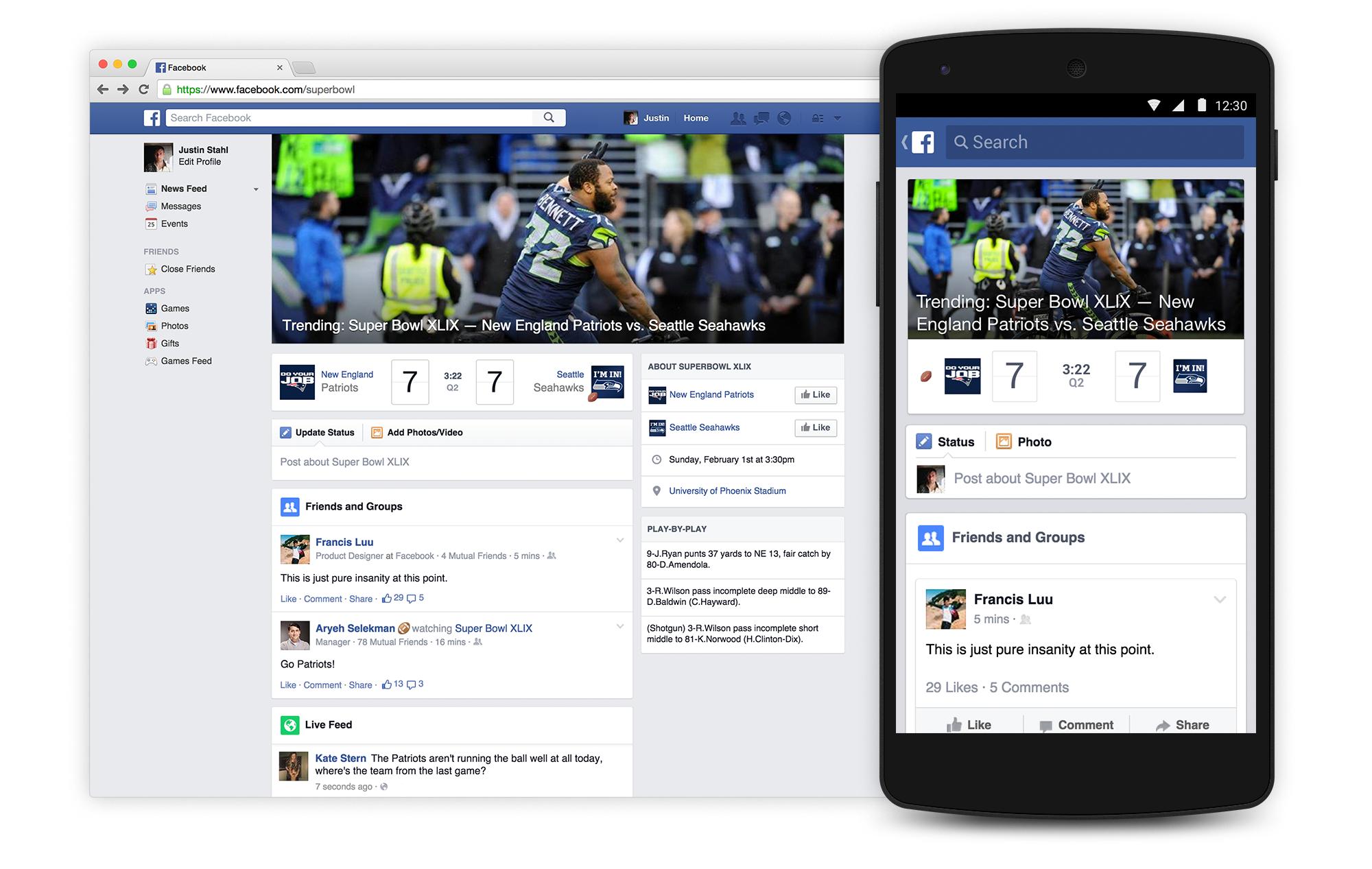 Facebook Super Bowl XLIX experience