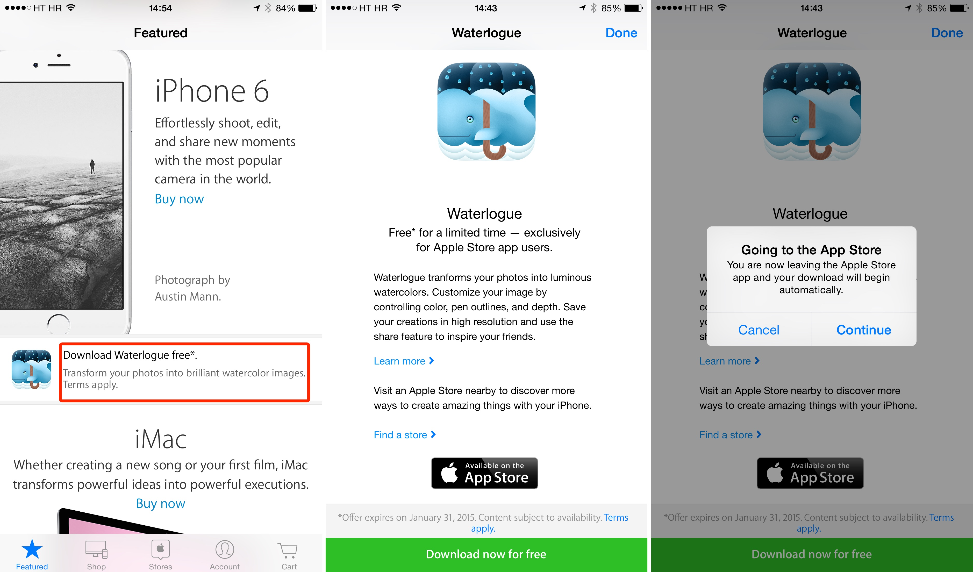 How to redeem Waterlogue in Apple Store app iPhone screenshot 001