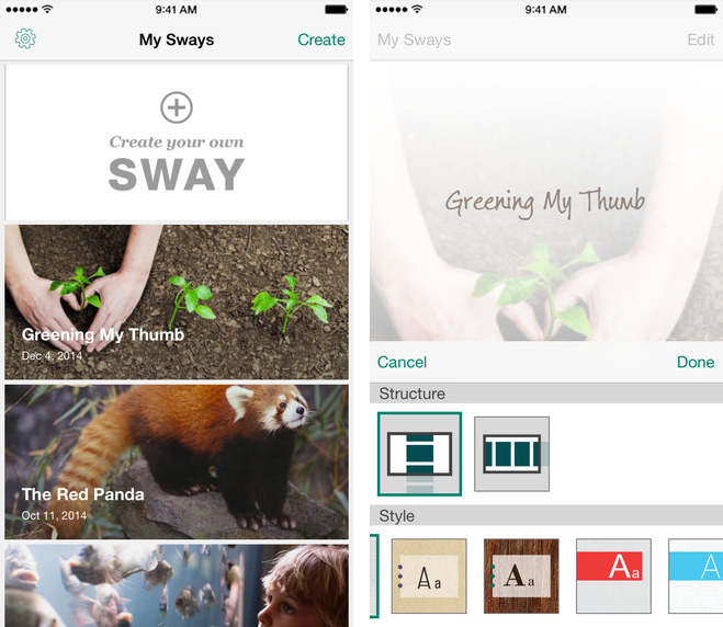 Microsoft Office Sway 1.1 for iOS iPhone screenshot 001